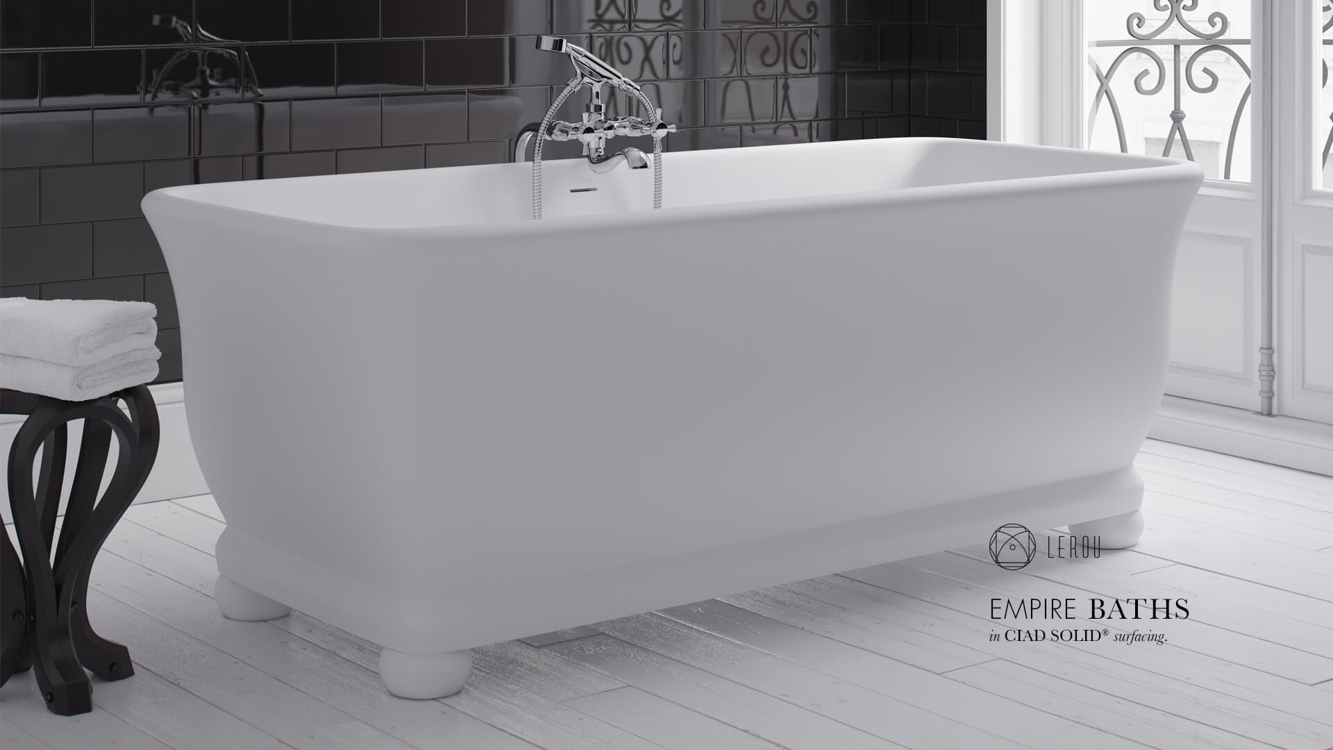 Lerou Empire Baths in CIAD® Solid Surfacing. Lerou vrijstaande Empire baden in CIAD® Solid oppervlakte.