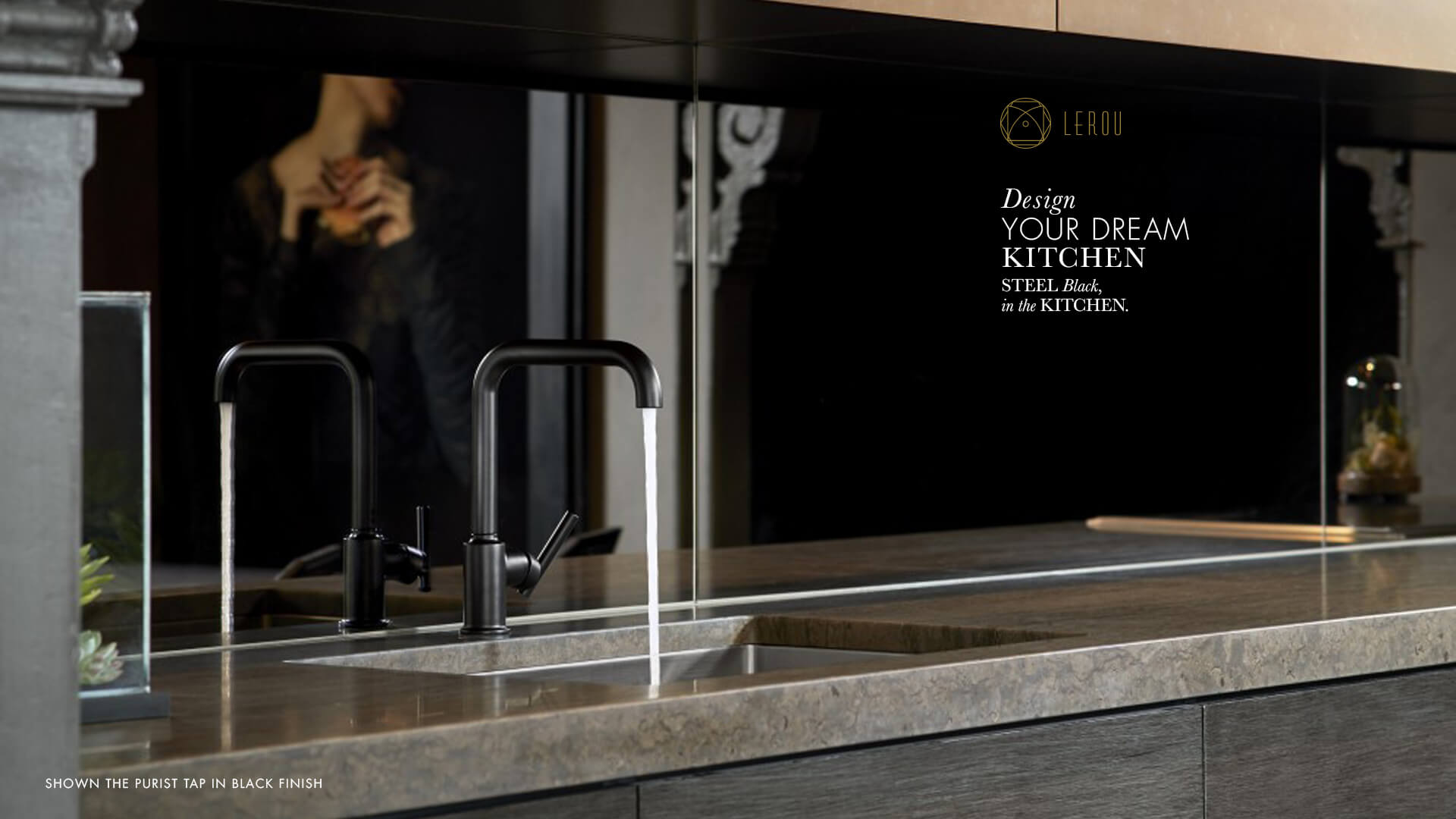 Design Your Dream Kitchen: Steel Black in the Kitchen. Ontwerp uw droomkeuken: Steel Black in de keuken.