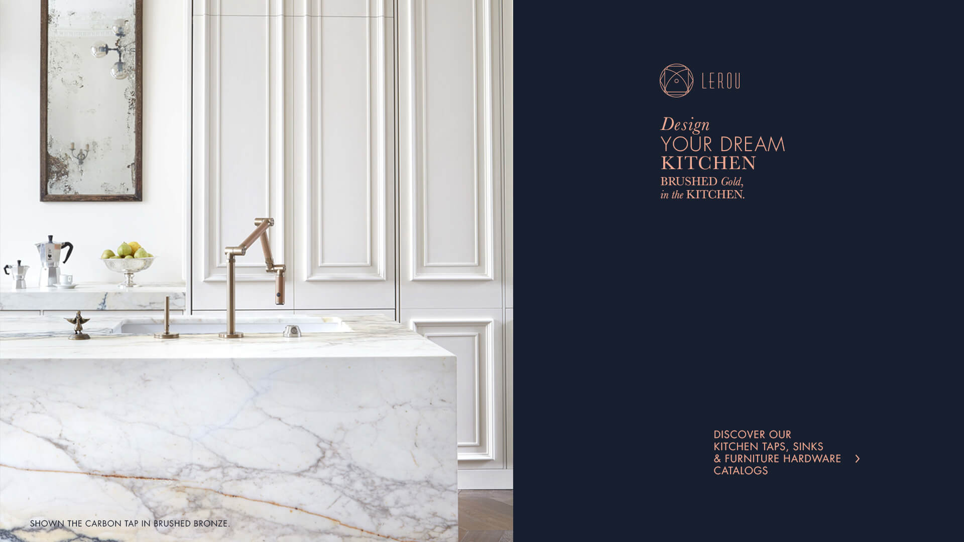 Design Your Dream Kitchen: Brushed Gold in the Kitchen. Ontwerp uw droomkeuken: geborsteld Goud in de keuken.