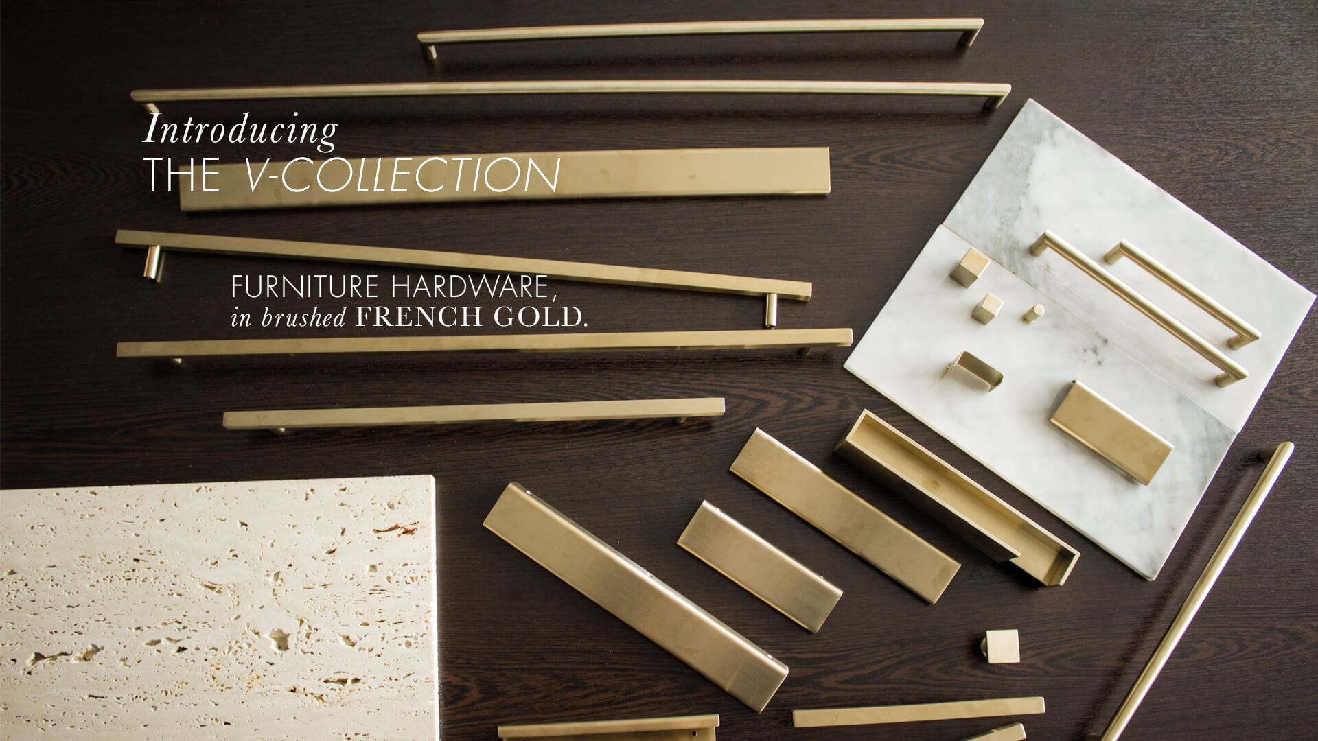 Lerou V-Collection: Furniture Hardware in Brushed French Gold. Lerou V-Collection: Meubelbeslag in geborsteld French Gold.
